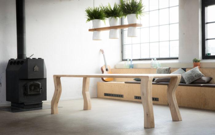 Eiken Vierkante eettafel, ontworpen door Jan Gunneweg
